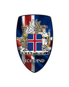Iceland Shield, Travel, Custom Metal Shape, 15 X 24 Inches