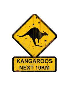 Kangaroos Next 10 km, Humor, Custom Metal Shape, 25 X 20 Inches