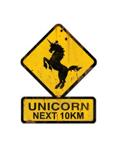 Unicorn Next 10 km, Humor, Custom Metal Shape, 25 X 20 Inches