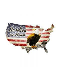 In God We Trust USA, Patriotic, Custom Metal Shape, 50 X 32 Inches