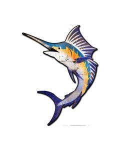 Marlin Sport Fish, Ocean and Nautical, Custom Metal Shape, 24 X 18 Inches