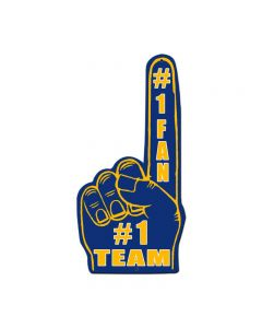 #1 Team Finger Blue Yellow, Patriotic, Custom Metal Shape, 10 X 20 Inches