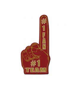 #1 Team Finger Red Gold, Patriotic, Custom Metal Shape, 10 X 20 Inches