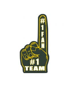 #1 Team Finger Green Yellow, Nostalgic, Custom Metal Shape, 10 X 20 Inches