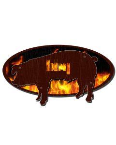 BBQ PIG, 3D Metal Art, PLASMA, 24 X 16 Inches