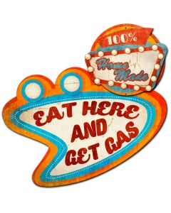 EAT HERE GET GAS, 3D Metal Art, 3D PLASMA PERSONALIZED, 30 X 27 Inches