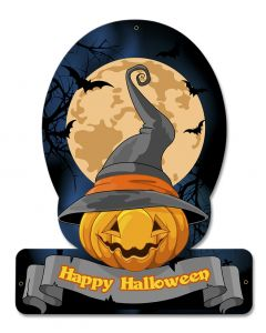 Halloween Pumpkin Witch, Halloween, HELMET METAL SIGN , 15 X 12 Inches