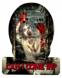 Zombie Come In, Halloween, HELMET METAL SIGN , 12 X 15 Inches