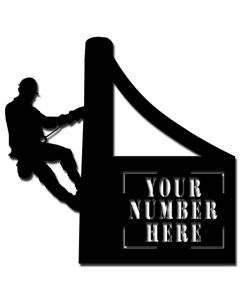 LINEMAN PERSONALIZED CUT OUT HOUSE NUMBER SIGN, Category/Other/Occupational, PLASMA PERSONALIZED CUT OUT, 24 X 24 Inches