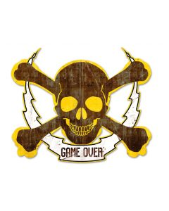 Skull Bolt Game Over, Man Cave, Plasma, 19 X 16 Inches