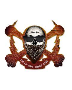 Skull Bolt Livin The Thug Life, Man Cave, Plasma, 19 X 16 Inches