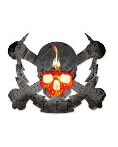 Flaming Skull Bolt RIP, Man Cave, Plasma, 19 X 16 Inches