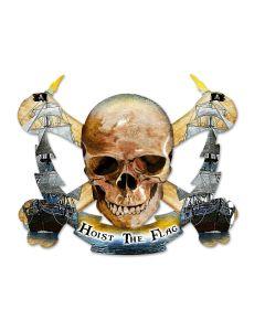 Skull Bolt Hoist The Flag, Man Cave, Plasma, 19 X 16 Inches