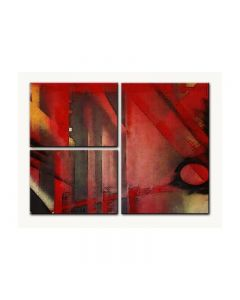 Abstract Red Art, Home and Garden, Triptych, 34 X 24 Inches