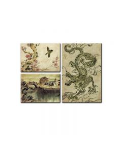 Chinese Dragon, Home and Garden, Triptych, 34 X 24 Inches
