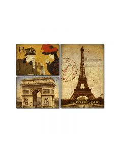 Paris Is For Lovers, Home and Garden, Triptych, 34 X 24 Inches