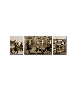 Rodeo Cowboys, Home and Garden, Triptych, 34 X 24 Inches