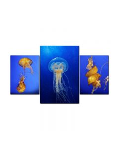 Jelly Fish Sea, Home and Garden, Triptych, 40 X 16 Inches