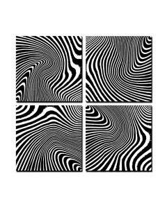 Zebra Quadriptych, Home and Garden, Triptych, 24 X 24 Inches