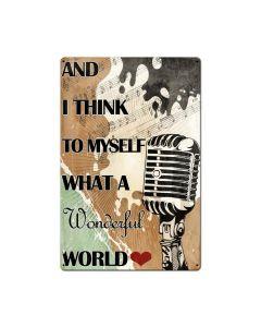 What A Wonderful World Lyrics, Nostalgic, Metal Sign, 16 X 24 Inches