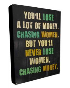 Chasing Woman, Metal Wall Art, BOXED SIGN , 16 X 24 Inches