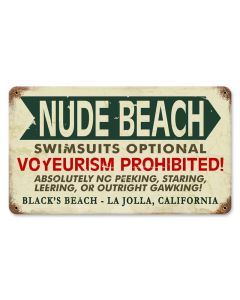 Black's Nude Beach, , Vintage Metal Sign, 14 X 8 Inches