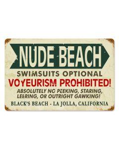 La Jolla Nude Beach, , Vintage Metal Sign, 18 X 12 Inches