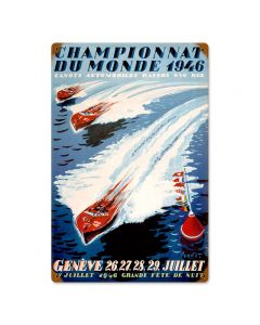 World Champion Boating, Sports and Recreation, Vintage Metal Sign, 12 X 18 Inches