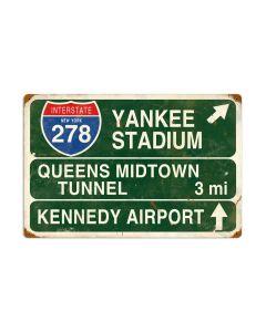 Yankee Stadium, Street Signs, Vintage Metal Sign, 24 X 16 Inches