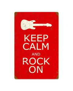 Keep Calm and Rock On, Humor, Vintage Metal Sign, 12 X 18 Inches