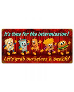 Intermission Snacks, Food and Drink, Vintage Metal Sign, 24 X 14 Inches