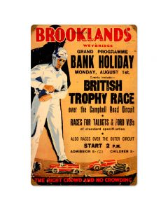 Brooklands, Automotive, Vintage Metal Sign, 16 X 24 Inches