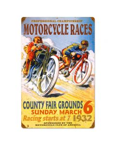 Pro Motorcycle Races, Motorcycle, Vintage Metal Sign, 16 X 24 Inches