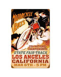 LA Motorcycle Races, Motorcycle, Vintage Metal Sign, 16 X 24 Inches