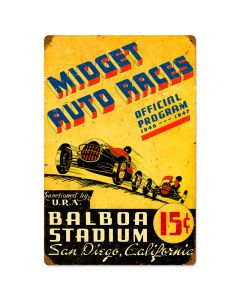 San Diego Midget Races, Automotive, Vintage Metal Sign, 16 X 24 Inches