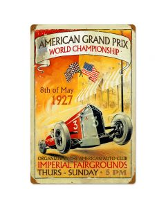 American Grand Prix, Automotive, Vintage Metal Sign, 16 X 24 Inches