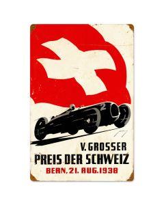 Swiss Car Race, Automotive, Vintage Metal Sign, 16 X 24 Inches