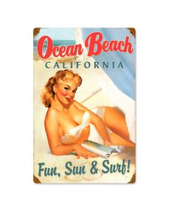 Ocean Beach Pinup, Pinup Girls, Vintage Metal Sign, 12 X 18 Inches