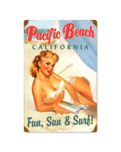 Pacific Beach Pinup, Pinup Girls, Vintage Metal Sign, 12 X 18 Inches