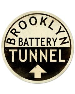 Brooklyn Tunnel, Street Signs, Round Metal Sign, 14 X 14 Inches
