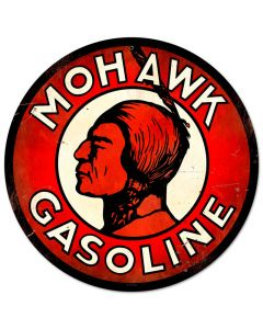 Mohawk Gasoline, Automotive, Round Metal Sign, 14 X 14 Inches