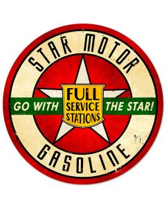 Star Motor Gasoline, Automotive, Round Metal Sign, 14 X 14 Inches