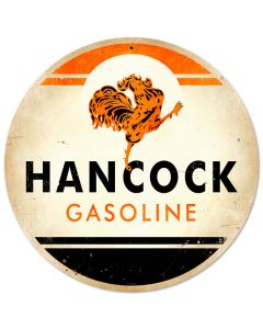 Hancock Gasoline, Automotive, Round Metal Sign, 14 X 14 Inches