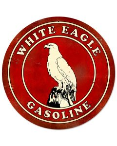 White Eagle Gasoline, Automotive, Round Metal Sign, 14 X 14 Inches