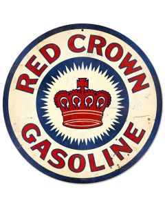 Red Crown Gasoline, Automotive, Round Metal Sign, 14 X 14 Inches