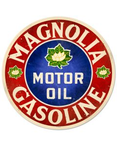 Magnolia Motor Oil, Automotive, Round Metal Sign, 14 X 14 Inches