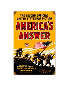 Americans Answer, Allied Military, Vintage Metal Sign, 12 X 18 Inches
