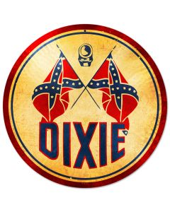 Dixie Gasoline, Automotive, Round Metal Sign, 14 X 14 Inches