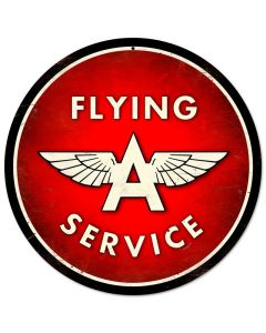 Flying A Service, Automotive, Round Metal Sign, 14 X 14 Inches