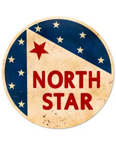 North Star Gasoline, Automotive, Round Metal Sign, 14 X 14 Inches
